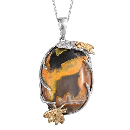 Bumble Bee Jasper (Ovl) Pendant With Chain in Platinum and Yellow Gold Overlay Sterling Silver 22.000 Ct.