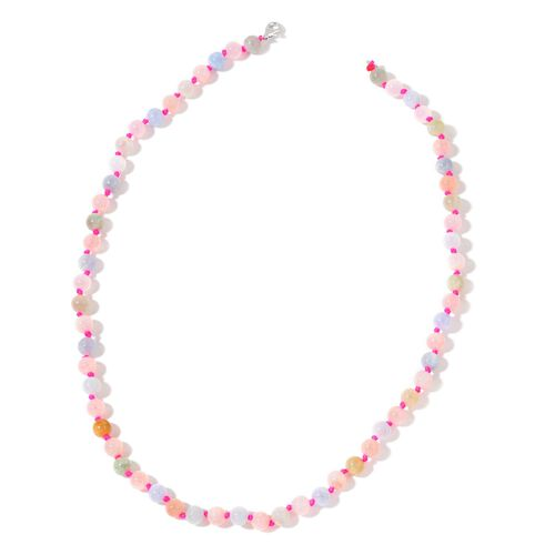 Rare Multi Colour Marropino Morganite Beaded Necklace (Size 20) in Rhodium Plated Sterling Silver 140.000 Ct.