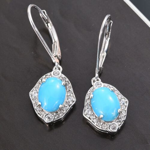 Arizona Sleeping Beauty Turquoise (Ovl), Natural Cambodian Zircon Lever Back Earrings in Platinum Overlay Sterling Silver 2.250 Ct.