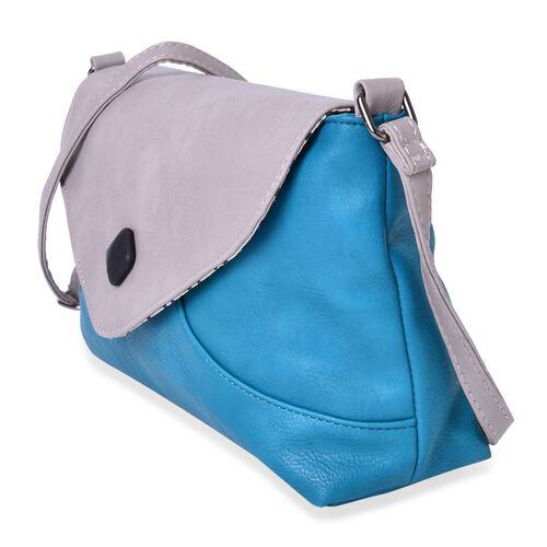 Turquoise and Grey Colour Envelope Design Crossbody Bag with Adjustable Shoulder Strap (Size 27X17.5X8 Cm)