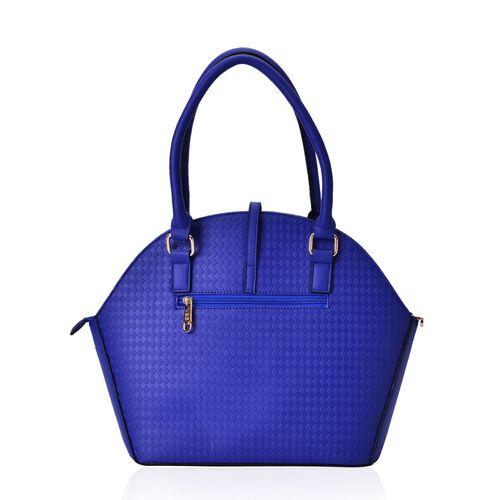Diamond Pattern Blue Colour Tote Bag (Size 39x29.5x14 Cm)