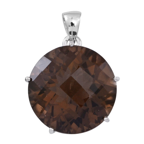 Brazilian Smoky Quartz (Rnd) Pendant in Rhodium Plated Sterling Silver 20.000 Ct.