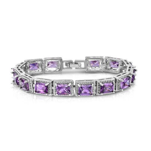 Designer Inspired-Purple Sapphire Colour (Oct) Bracelet (Size 7) in Silver Bond
