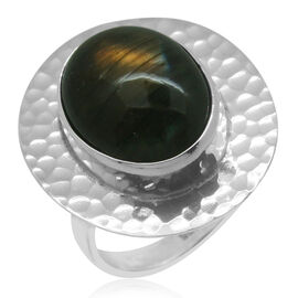 Royal Bali Collection Labradorite (Ovl) Solitaire Ring in Sterling Silver 9.310 Ct.
