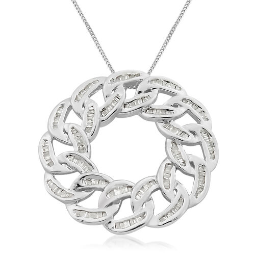 Designer Inspired-Diamond (Bgt) Curb Link Pendant with Chain in Platinum Overlay Sterling Silver 0.755 Ct.