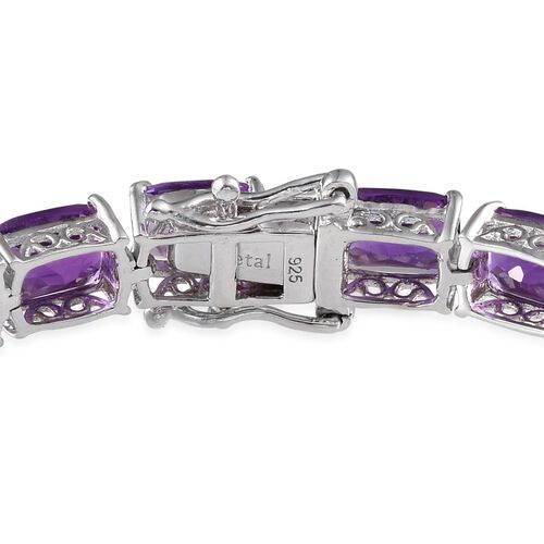 Lusaka Amethyst (Cush) Bracelet in Platinum Overlay Sterling Silver (Size 8) 32.000 Ct.