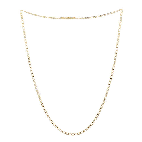 14K Gold Overlay Sterling Silver Mariner Necklace (Size 24), Silver wt 8.80 Gms.