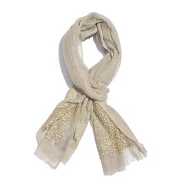 92% Merino Wool and 8% Silk Beige Colour Scarf with Sequin Border and Fringes (Size 200X70 Cm)