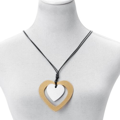 Handcrafted Heart Charms Necklace (Size 17 with 3 inch Extender) in Dual Tone