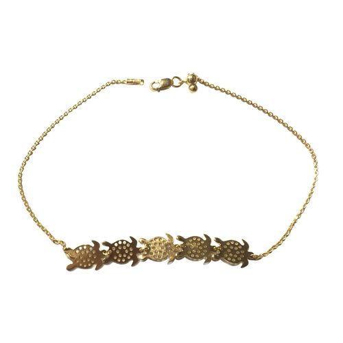 14K Gold Overlay Sterling Silver Adjustable Turtle Anklet (Size 10)