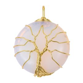 Opalite (Rnd) Tree of Life Pendant in Yellow Gold Tone