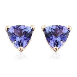 9K Yellow Gold 1 Carat AA Tanzanite (Trl) Stud Earrings (with Push Back)