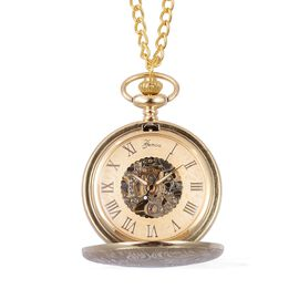 GENOA Automatic Skeleton Golden Dial Water Resistant Flower Pattern Pocket Watch with Chain in Gold Tone