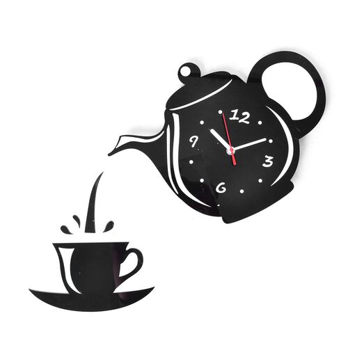 DIY Modern Black Teapot and Cup Design Wall Clock