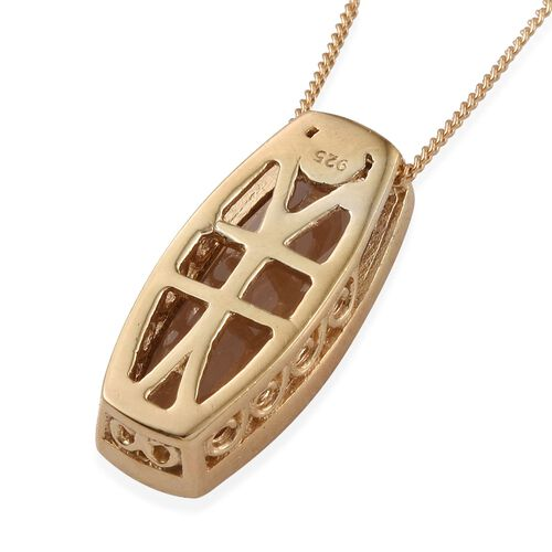 Alexite (Cush) Solitaire Pendant With Chain in 14K Gold Overlay Sterling Silver 4.500 Ct.