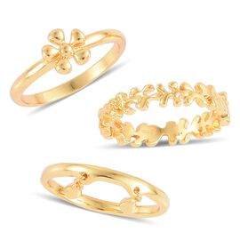 Set of 3 - LucyQ Splat and Double Drip Ring in Yellow Gold Overlay Sterling Silver 7.02 Gms.