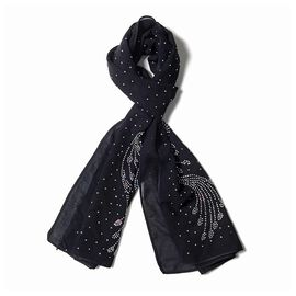 Black Colour Peacock Tail Feather Pattern Scarf with Crystal Embellishment (Size 157x50 Cm)