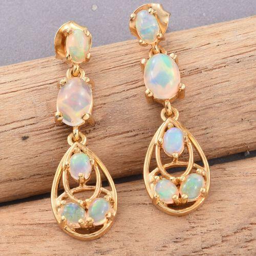 Designer Inspired-Ethiopian Welo Opal (Ovl) Earrings (with Push Back) in 14K Gold Overlay Sterling Silver 2.060 Ct.