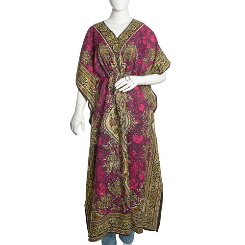 Fuchsia, Orange and Multi Colour Damask Printed Kaftan (Free Size)
