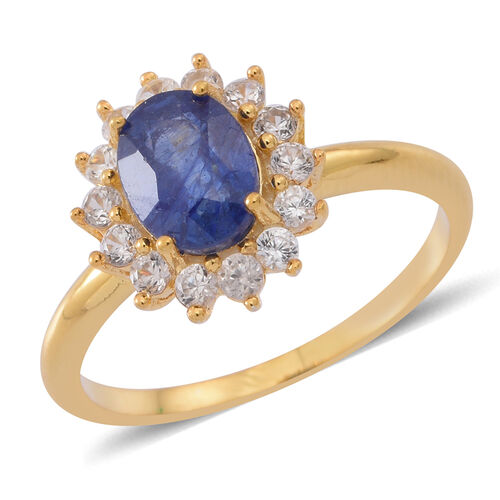 Masoala Sapphire (Ovl 1.80 Ct), Natural Cambodian White Zircon Ring in 14K Gold Overlay Sterling Silver 2.500 Ct.