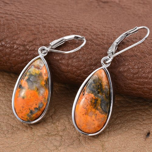 Bumble Bee Jasper (Pear) Lever Back Earrings in Platinum Overlay Sterling Silver 16.500 Ct.