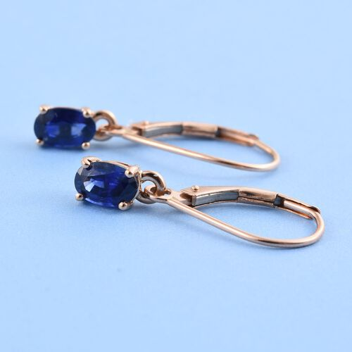 ILIANA 18K Rose Gold Ceylon Blue Sapphire (Ovl) Lever Back Earrings 1.250 Ct.
