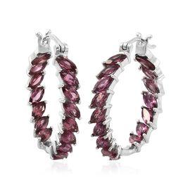 Rhodolite Garnet (Mrq) Hoop Earrings in Platinum Overlay Sterling Silver 6.000 Ct. Silver wt 5.79 Gms.