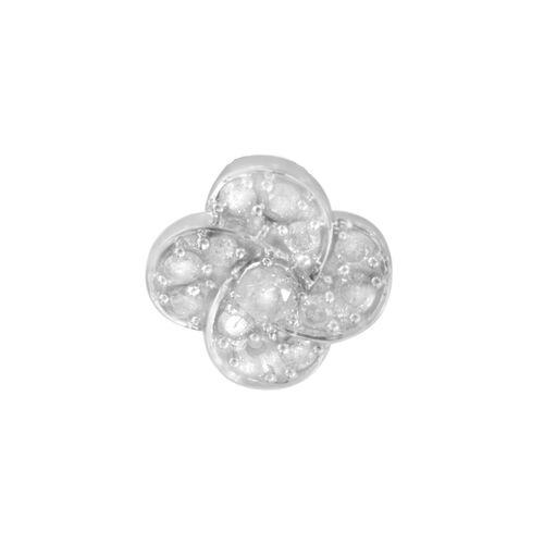 9K White Gold SGL Certified Diamond (Rnd) (I3/G-H) Lily Floral Pendant 0.250 Ct.