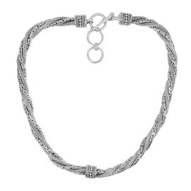 Royal Bali Collection Sterling Silver Tulang Naga and Borobudur Twined Necklace (Size 18 with 1 inch Extender), Silver wt. 119.02 Gms.