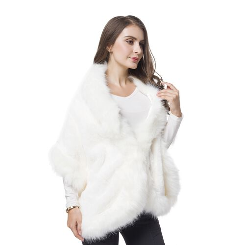 Designer Inspired-White Colour Faux Fur Shawl (Size 150X40 Cm)