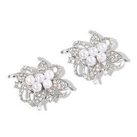 Pair of Floral Design Clip Accessory with Simulated White Pearl and Austrian Crystal Silver Plated