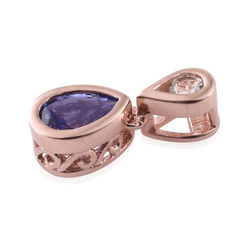 Tanzanite and White Topaz 0.72 Ct Silver Pendant in Rose Gold Overlay