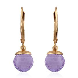 J Francis Crystal from Swarovski - Violet Colour Crystal Lever Back Earrings in 14K Gold Overlay Sterling Silver