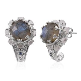 Tribal Collection of India Labradorite (Rnd), Rainbow Moonstone and Kanchanaburi Blue Sapphire J Hoop Earrings (with Push Back) in Platinum Overlay Sterling Silver 15.750 Ct.