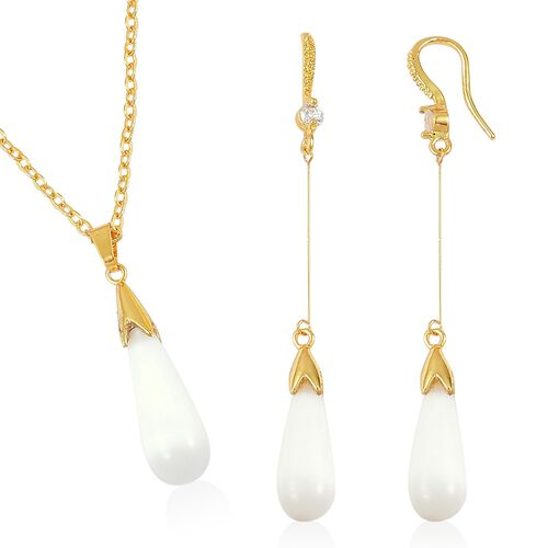 Simulated White Cats Eye and Simulated White Diamond Drop Pendant With Chain (Size 22) and Hook Earrings in Yellow Gold Tone