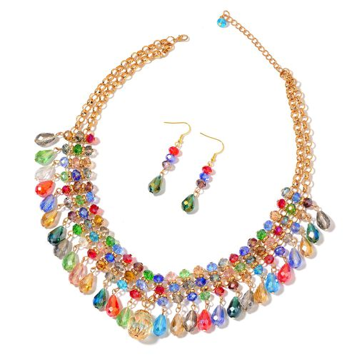Simulated Multi Colour Diamond Necklace (Size 20 with 3 inch Extender) and Hook Earrings in Yellow Gold Tone