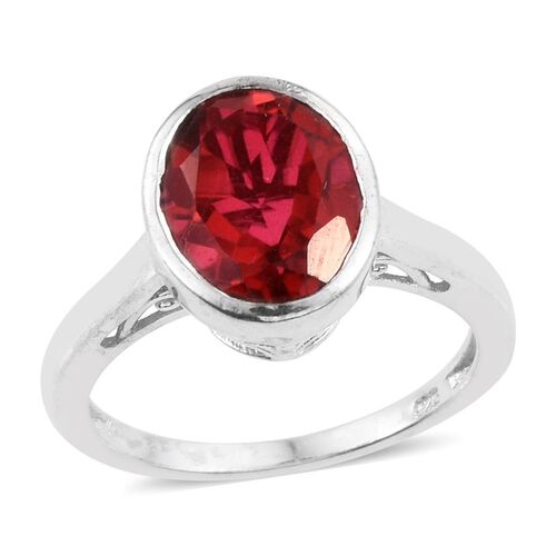 Blazing Red Triplet Quartz (Ovl) Solitaire Ring in Platinum Overlay Sterling Silver 3.750 Ct.