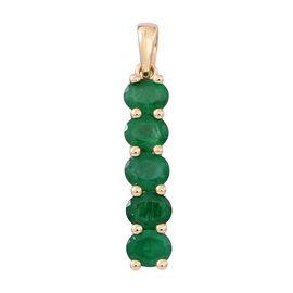 9K Y Gold AAA Kagem Zambian Emerald (Ovl) 5 Stone Pendant 1.500 Ct.