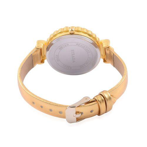 STRADA Floating Austrian Crystal Floral Design Watch - Golden
