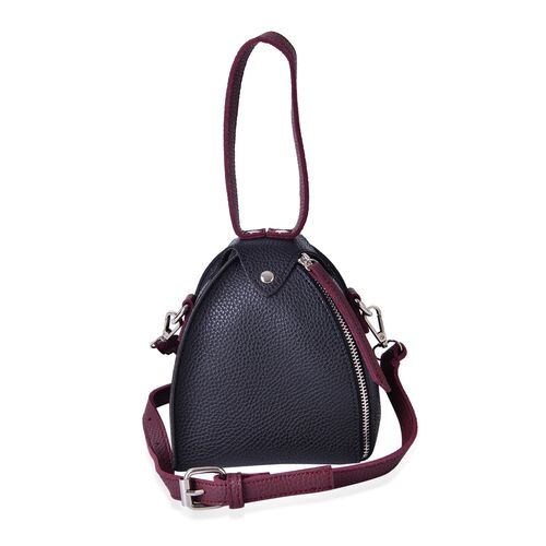 Black and Burgundy Colour Tote Bag with Adjustable and Removable Shoulder  Strap (Size 17x14x14 Cm)