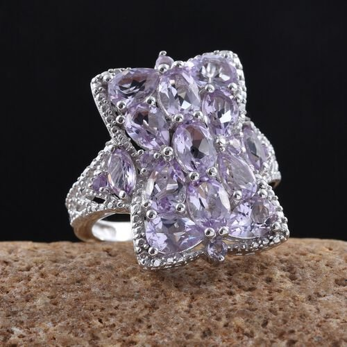 Rose De France Amethyst (Ovl) Ring in Platinum Overlay Sterling Silver 4.500 Ct.