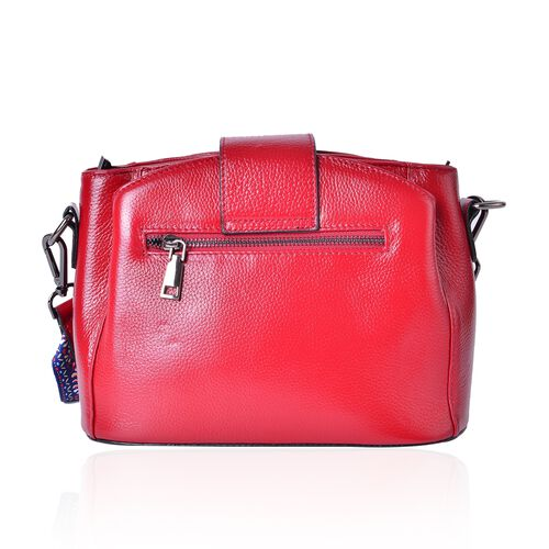 100% Genuine Leather Red Colour Shoulder Bag with Buckle Lock and Colourful Removable Shoulder Strap (Size 25.5X19X12 Cm)