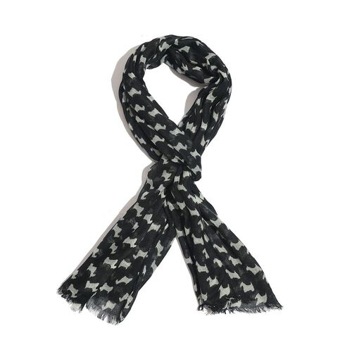 Goat Pattern Black and White Colour Woven Scarf (Size 175x70 Cm)