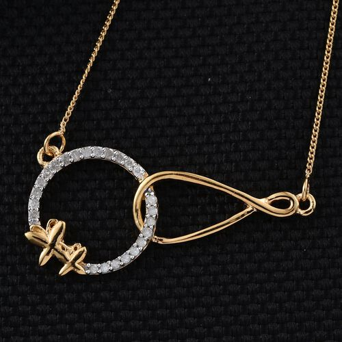 Diamond Circle and Infinity Silver Necklace (Size 18) in 14K Gold Overlay 0.150 Ct.