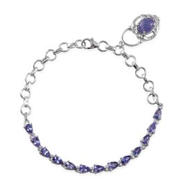 Tanzanite (Ovl 1.25 Ct) Bracelet (Size 7) in Platinum Overlay Sterling Silver 3.750 Ct.