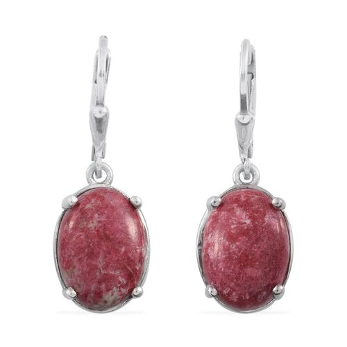 Norwegian Thulite (Ovl) Earrings in Platinum Overlay Sterling Silver 14.000 Ct.