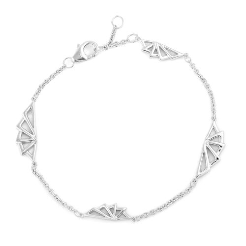 LucyQ Art Deco Bracelet (Size 8) in Rhodium Plated Sterling Silver 5.80 Gms.