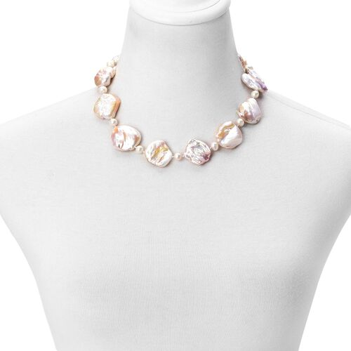 ILIANA 18K W Gold AAAA Organic Keshi Pearl and Fresh Water White Pearl Necklace (Size 18)