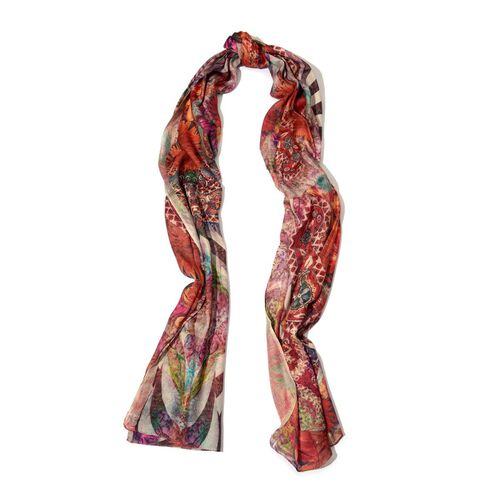 Digital Floral Pattern Pink Colour Scarf (Size 70x180 Cm)