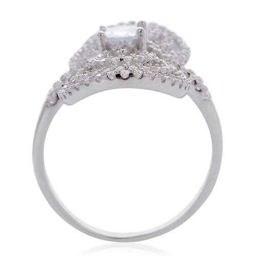 AAA Simulated White Diamond Ring in Rhodium Plated Sterling Silver 2.000 Ct.
